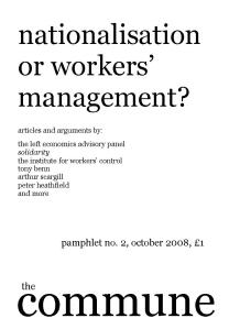 cover of pamphlet on nationalisation and workers' management